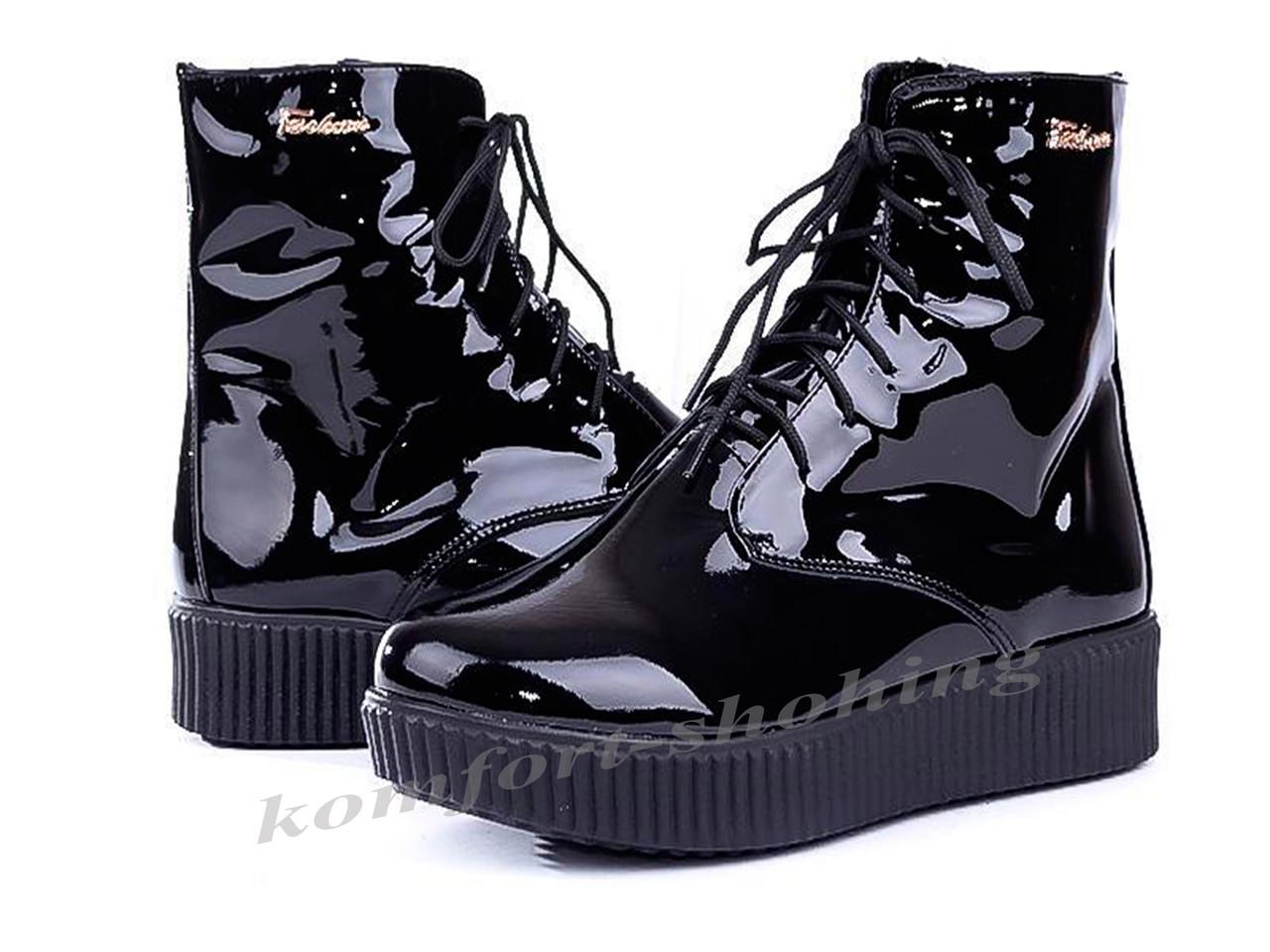 Ботинки женские лаковые  на шнурках V 880