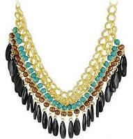Ожерелье Колье бирюзовое с черным