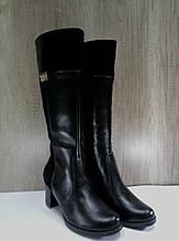 Сапоги женские зимние на каблуке  Рассвет,натуральная кожа с замшевыми вставками.
