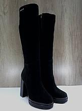 Высокие женские сапоги еврозима из натуральной замши  AngelsVi на каблуке.