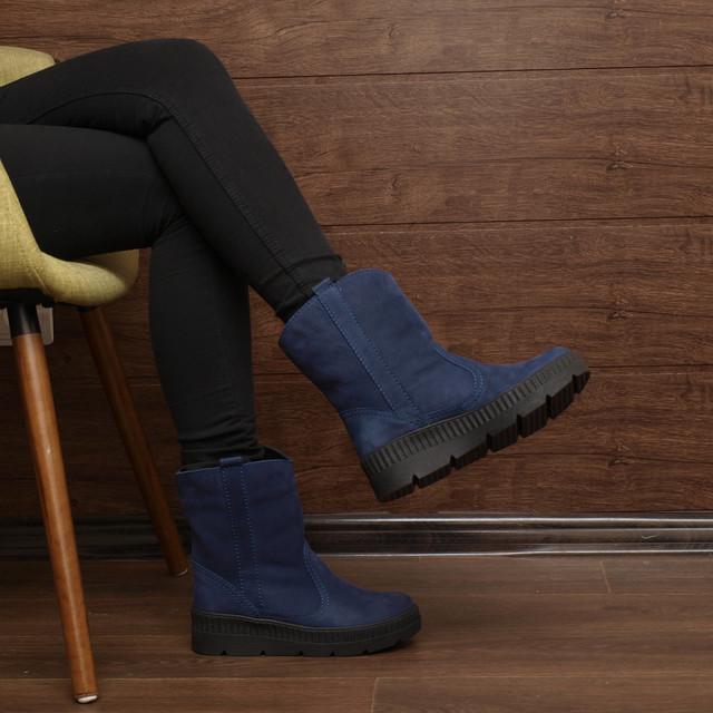 Синие женские ботинки из нубука на фото, модель 7219.2