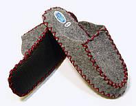 Фетрово-войлочные тапочки для мужчин с бордовым шнурком