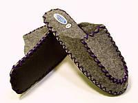 Мужские фетрово-войлочные тапочки с фиолетовым шнурком, фото 1