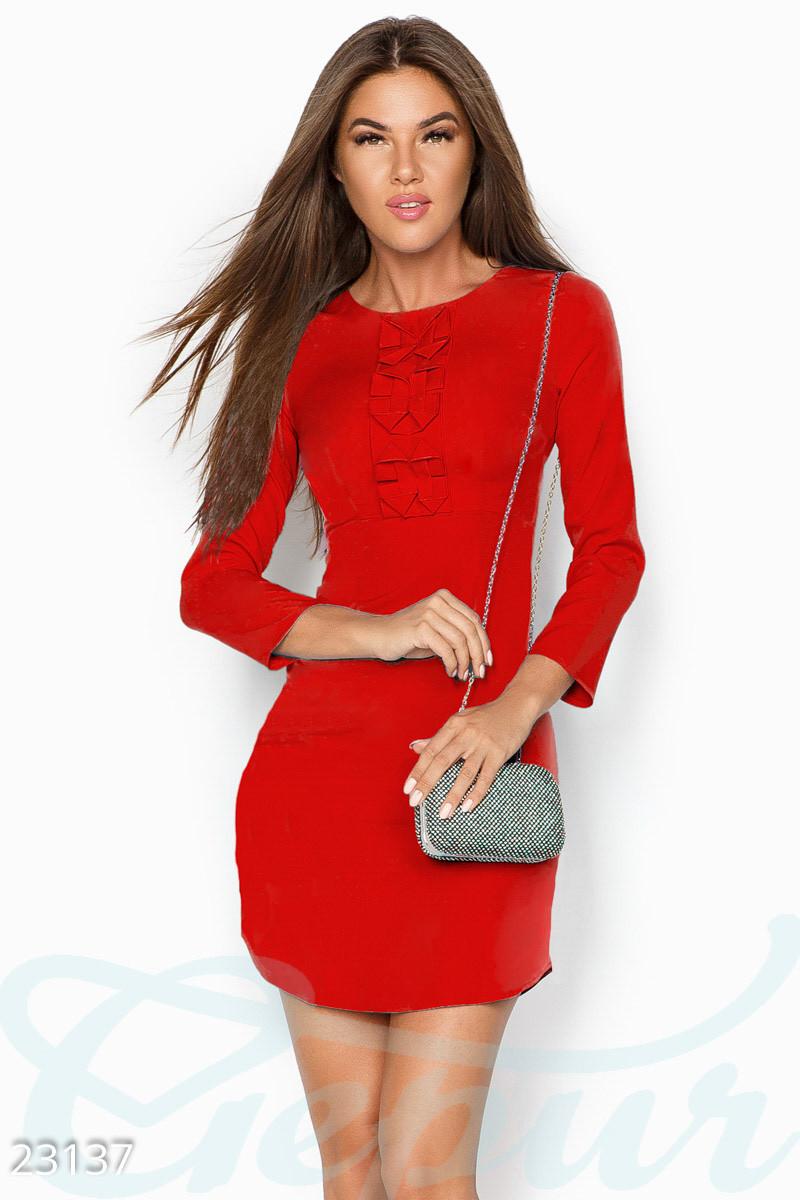 Платье женское красное   черное с оборкой Красный, M