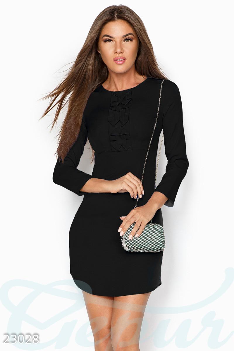 Платье женское красное   черное с оборкой L, Черный, Черный
