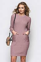 Вязаное платье Косы-карман 42-50, фото 1