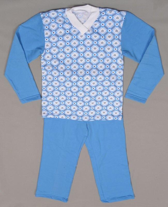 Пижама детская байковая начес для девочек и мальчиков голубая длинный рукав трикотаж хлопок 100%  Украина