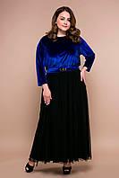 Вечернее платье в пол больших размеров Анабель синее 54, 56