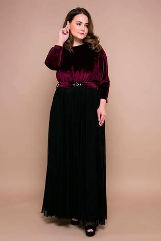 Вечернее платье в пол больших размеров Анабель бордовое, фото 2