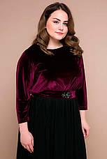 Вечернее платье в пол больших размеров Анабель бордовое, фото 3