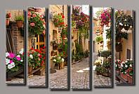 "Модульная картина на холсте ""Улица в цветах 2"""