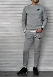 Весенний спортивный костюм New Balance светло-серый топ реплика