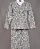 Детская пижама теплая байковая начес серая длинный рукав трикотаж хлопок 100%  (Украина)
