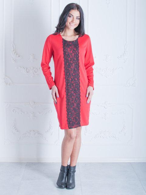 84de660a5b9 Стильное платье красное с черной кружевной вставкой спереди свободный крой