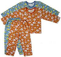 Пижама детская теплая байковая с начесом голубая оранжевый длинный рукав трикотаж хлопок 100%  (Украина)