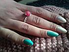 Кільце з натуральним каменем нефрит (пофарбований) рожевий колір, фото 4