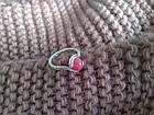 Кільце з натуральним каменем нефрит (пофарбований) рожевий колір, фото 5