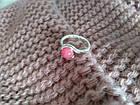 Кільце з натуральним каменем нефрит (пофарбований) рожевий колір, фото 3