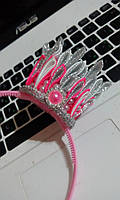 """Корона-канзаши на обруче для девочки """"Розово-серебристая"""""""