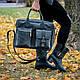 Ділова сумка з шкіри та замші кольору бордо. Індивідуальний пошив., фото 3