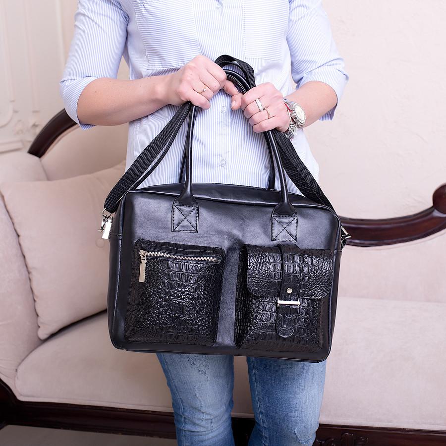 Ділова сумка з шкіри та замші кольору бордо. Індивідуальний пошив.