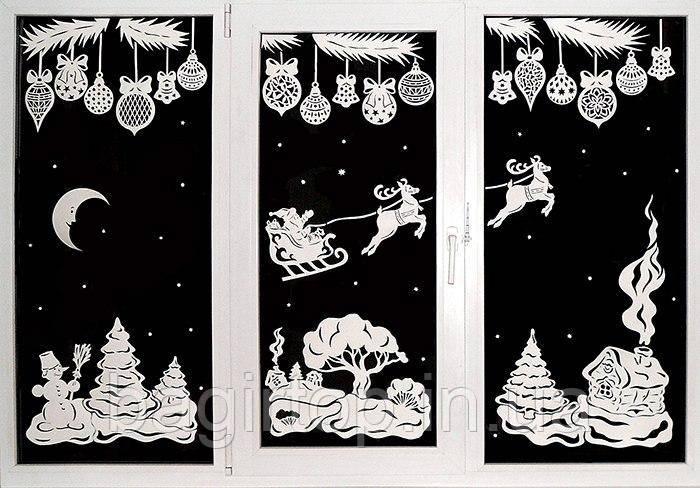 Новогодняя виниловая наклейка - Новогодняя сказка на окно 117х50 см х 3 шт