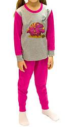 Детская пижама яркая розовая для девочек и мальчиков длинный рукав трикотажная хлопок 100% (Украина)