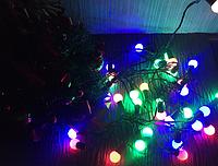 Новогодняя гирлянда разноцветные шарики на елку led
