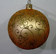 Елочный шар золотой Гербарий 100мм