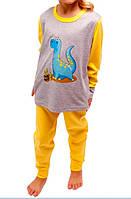 Детская пижама в детский сад желтая для девочек и мальчиков длинный рукав трикотажная хлопок 100% (Украина)