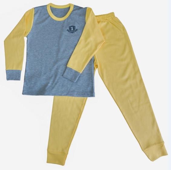 Піжама інтерлок дитяча дитина для дівчаток і хлопчиків жовта довгий рукав трикотаж бавовна 100% Україна