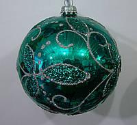 Елочный шар лаковый стеклянный зеленый Листья.