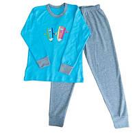 Пижама интерлок детская ребенок для девочек и мальчиков голубая длинный рукав трикотаж хлопок 100%  (Украина)