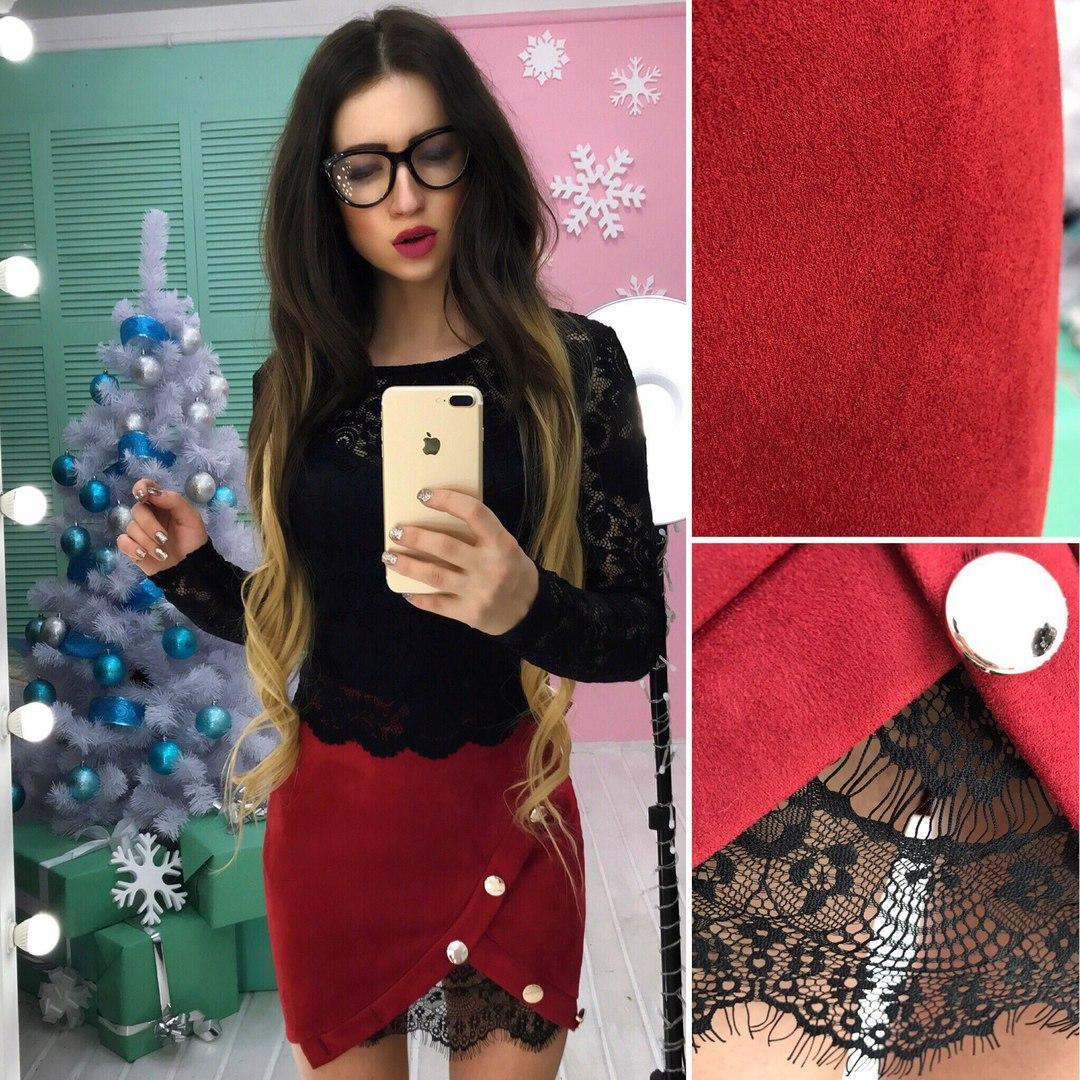 Костюм модный кружевной топ и юбка мини замш разные цвета Ks615, фото 1