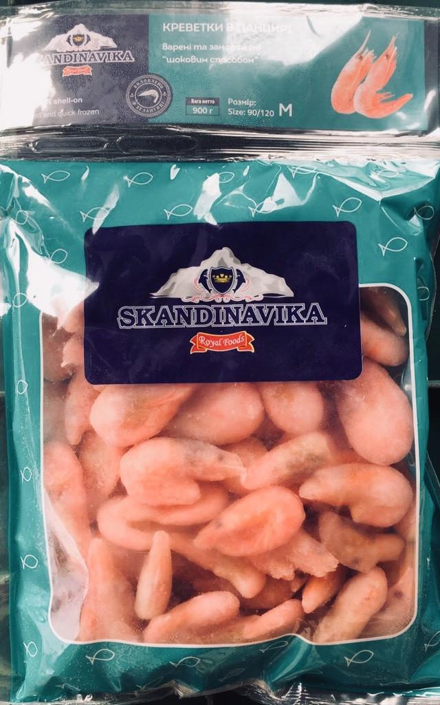 Креветки вареные в панцире 90/120 (0,9 кг)   А-0092