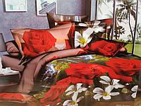 Полуторное постельное белье с ефектом 3D красная роза
