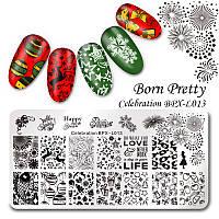 Пластина для стемпинга Новогодние праздники BORN PRETTY  Celebration BPX-L013