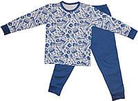 Синяя пижама интерлок детская подросток  для девочек и мальчиков длинный рукав трикотаж хлопок (Украина)