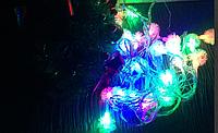 Новогодняя разноцветная гирлянда ежики 6м