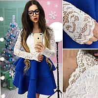 Платье красивое с кружевным верхом и пышной юбкой из неопрена короткое разные цвета SMb2026