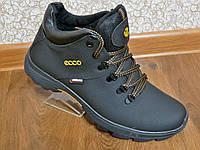 Зимние мужские кожаные ботинки ecco, фото 1