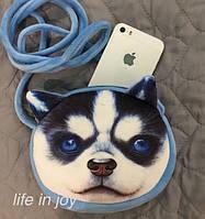 Очень яркая сумка для детей и взрослых с 3D принтом собаки породы хаски