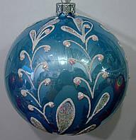 Елочный шар лаковый голубой Белая веточка 100мм