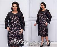 Изысканное платье из сетки с вышивкой и стразами с 54 по 58 размер