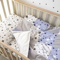 """Постельный комплект в детскую кроватку """"Серо-синие звезды"""""""