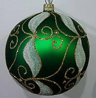 Елочный шар зеленый матовый Белый узор 100мм