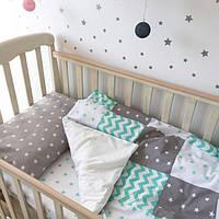 """Постельный комплект в детскую кроватку """"Серо-мятные звезды"""""""