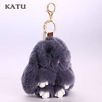 Меховой брелок Кролик (Заяц) на сумку, рюкзак, ключи Rex Fendi  (темно-серый)