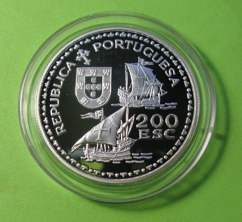 Португалия 200 эскудо 1994 г. серебро Генрих Мореплаватель. Парусник ,корабль.