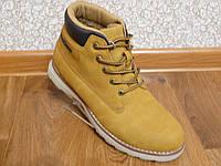 Зимние мужские кожаные ботинки Restime рыжий